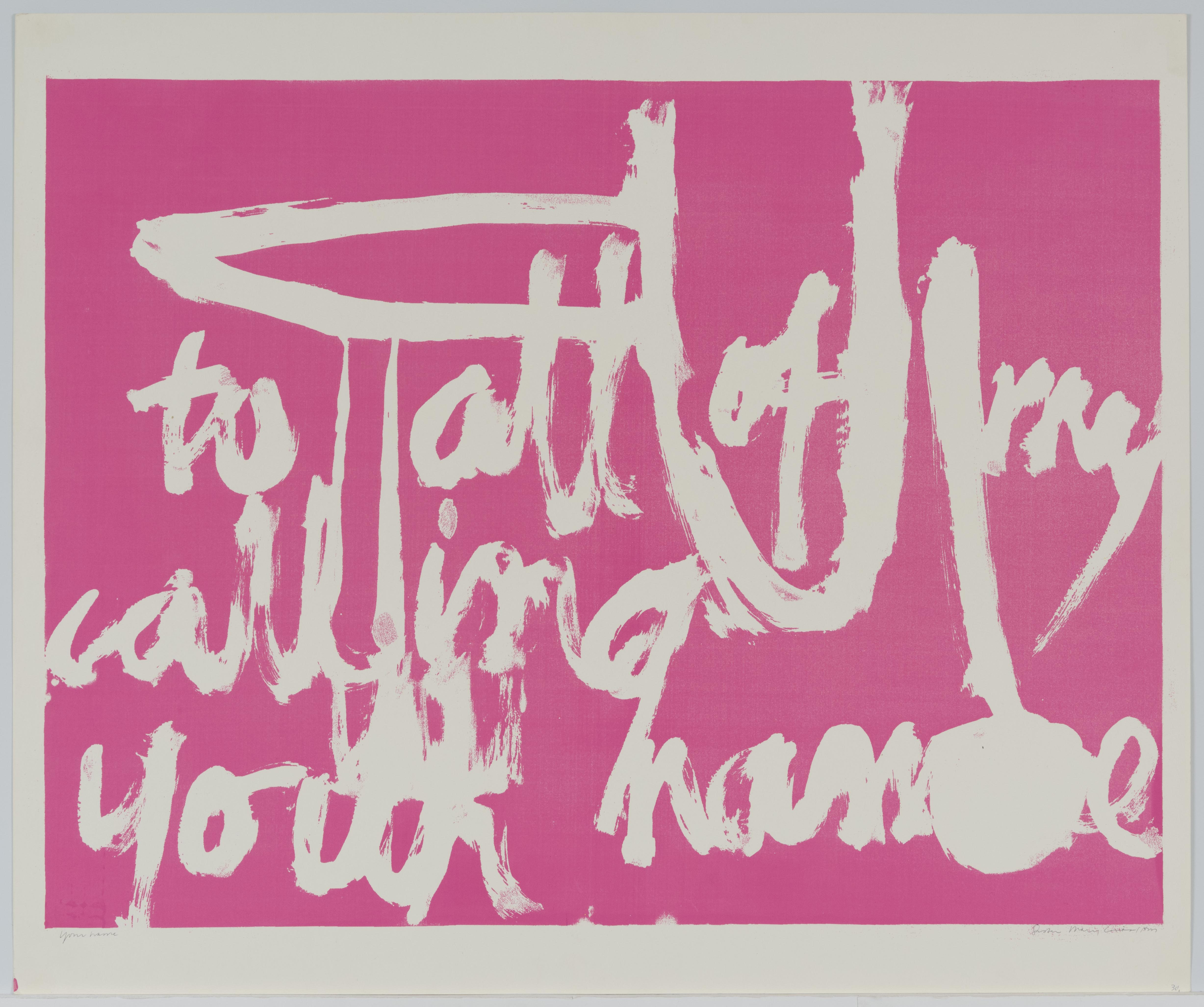 Corita Kent, to all of my calling your name, 1962