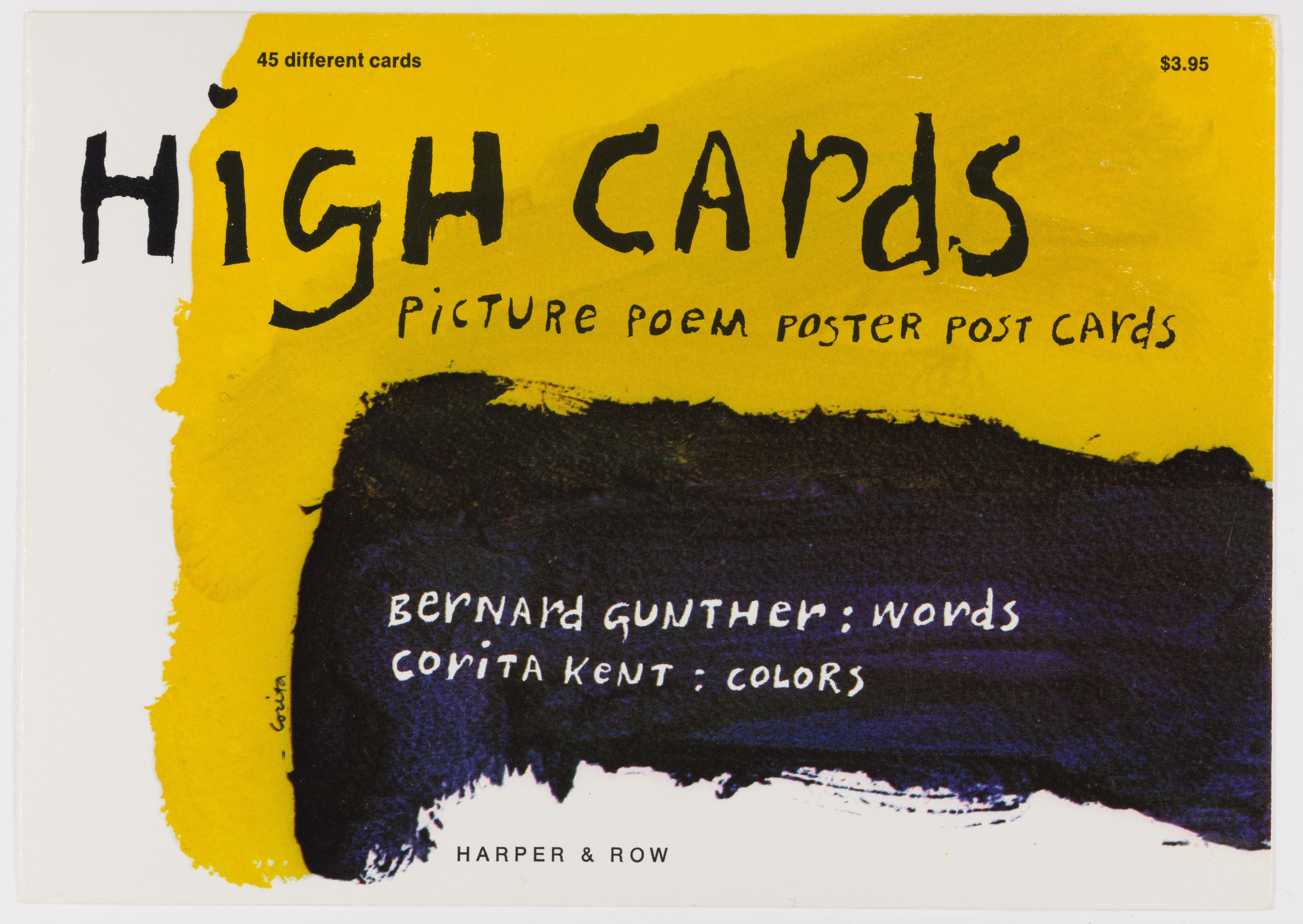 Corita Kent, high cards, 1974