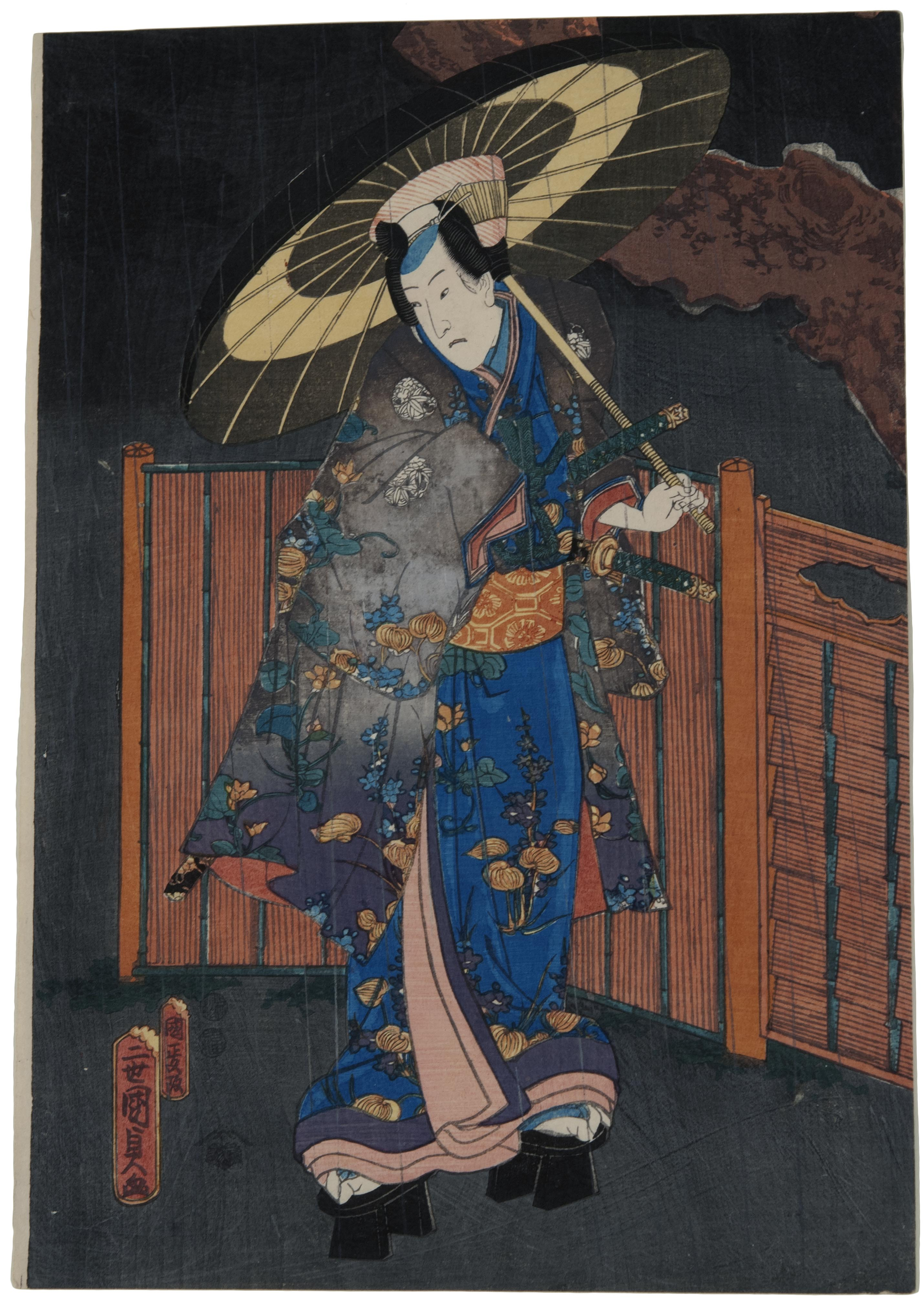 Kunisada II (Kunimasa), Actor standing by a gate in night rain, 1850-1852