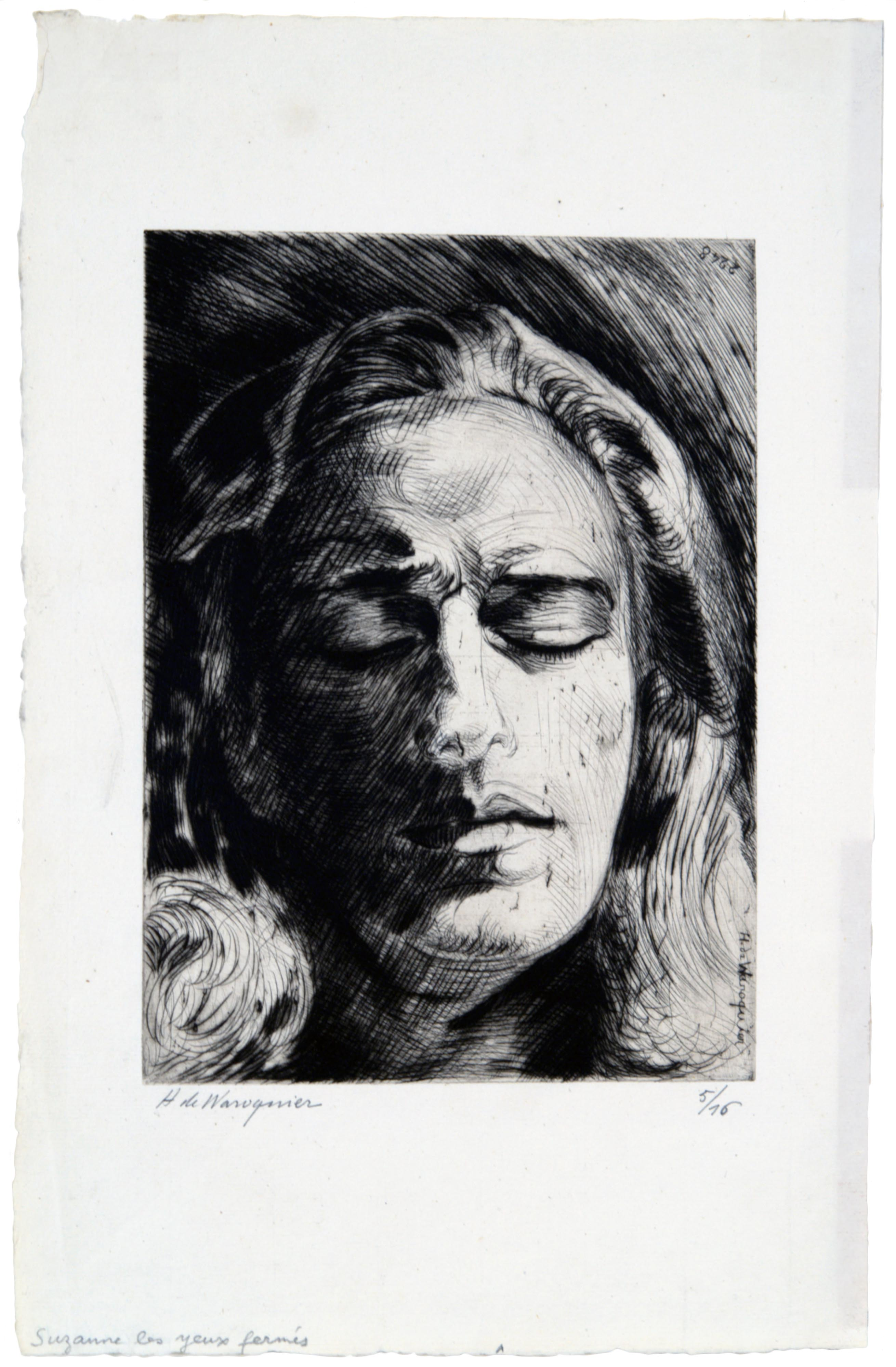 Henri de Waroquier, Figure of a Woman with Long Hair, Eyes Closed (Suzanne), 1934