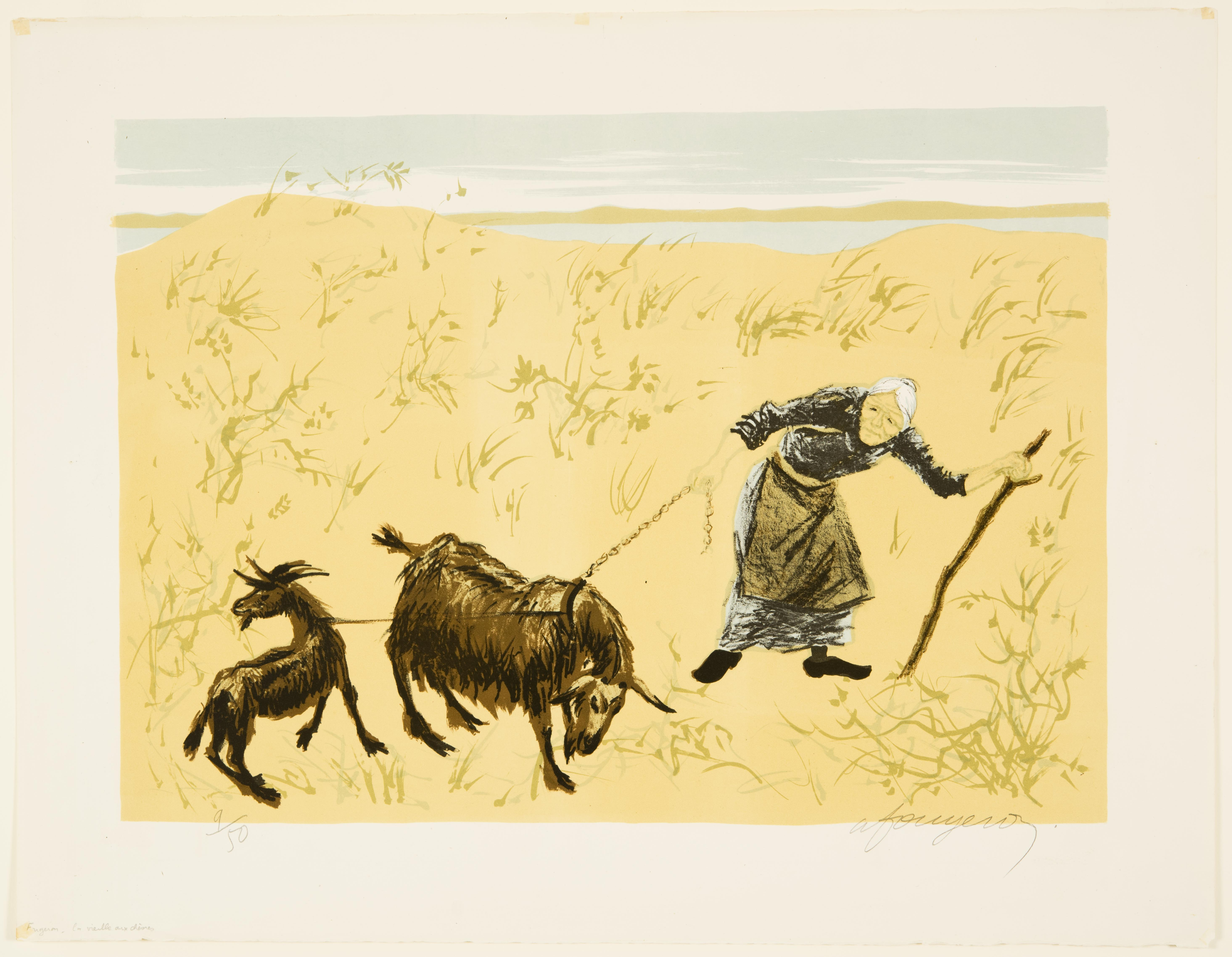 André Fougeron, Old Woman with Goats, n.d.