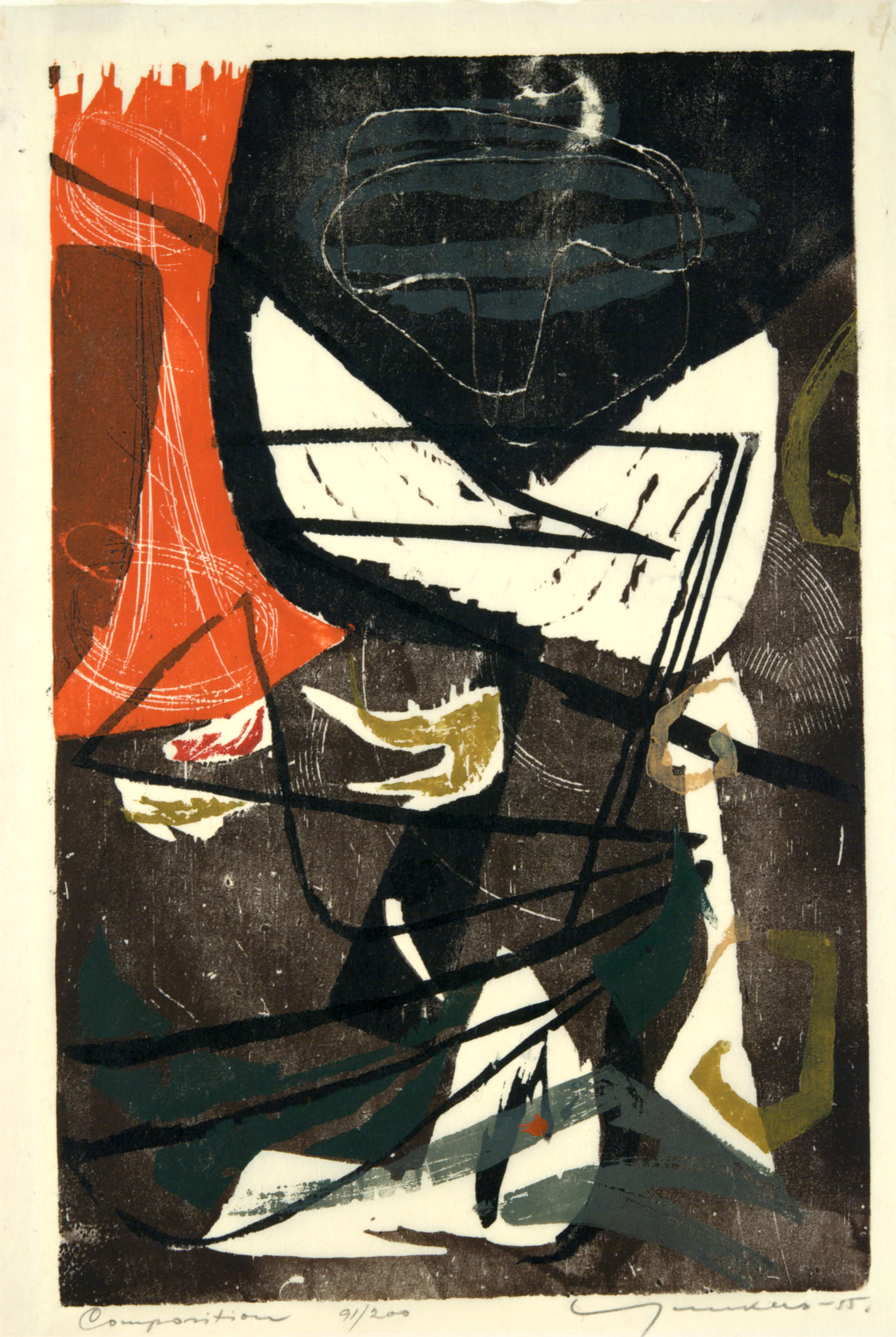 Adja Yunkers, Composition, 1955