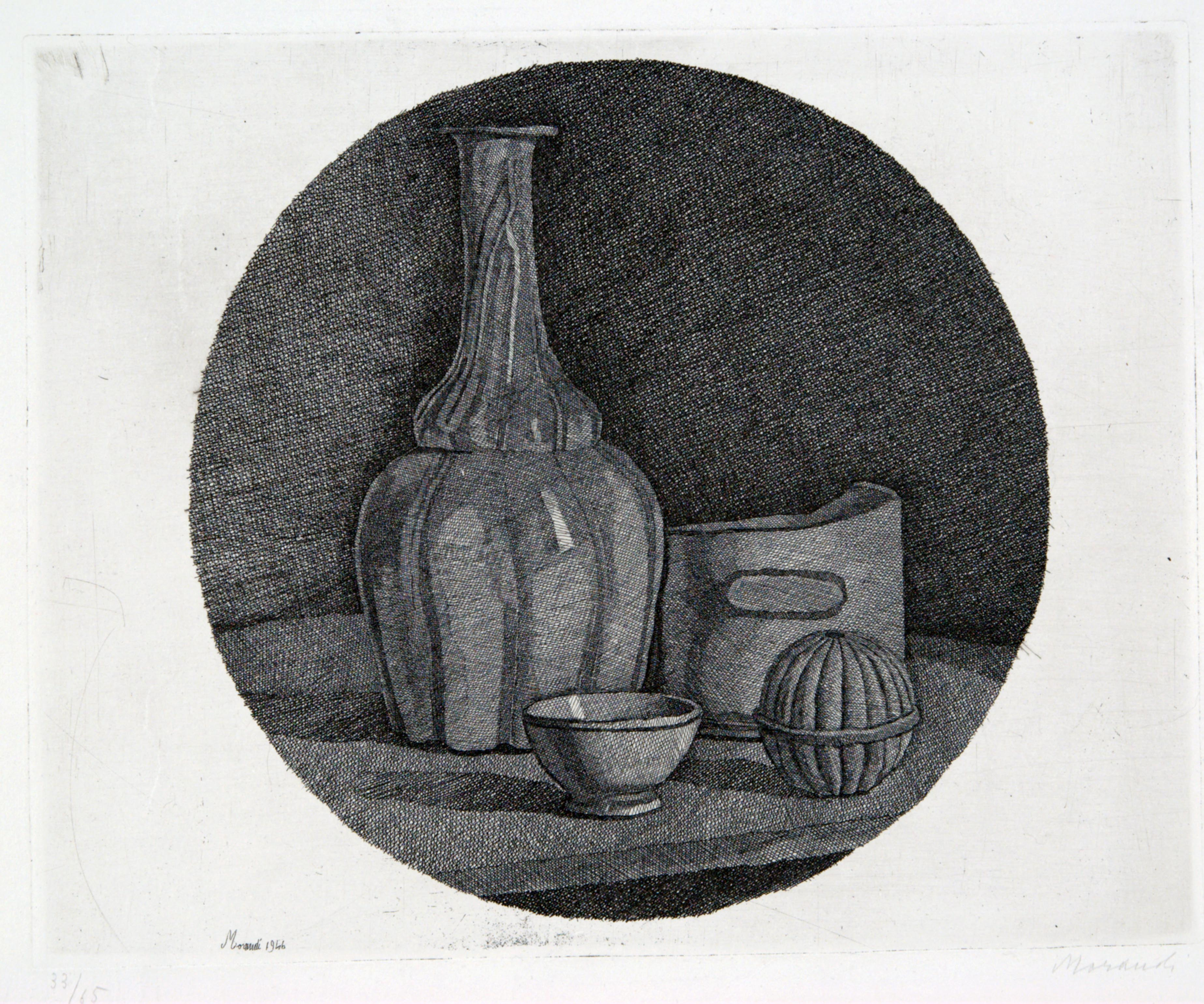 Giorgio Morandi, Large Circular Still Life with Bottle and Three Objects, 1946