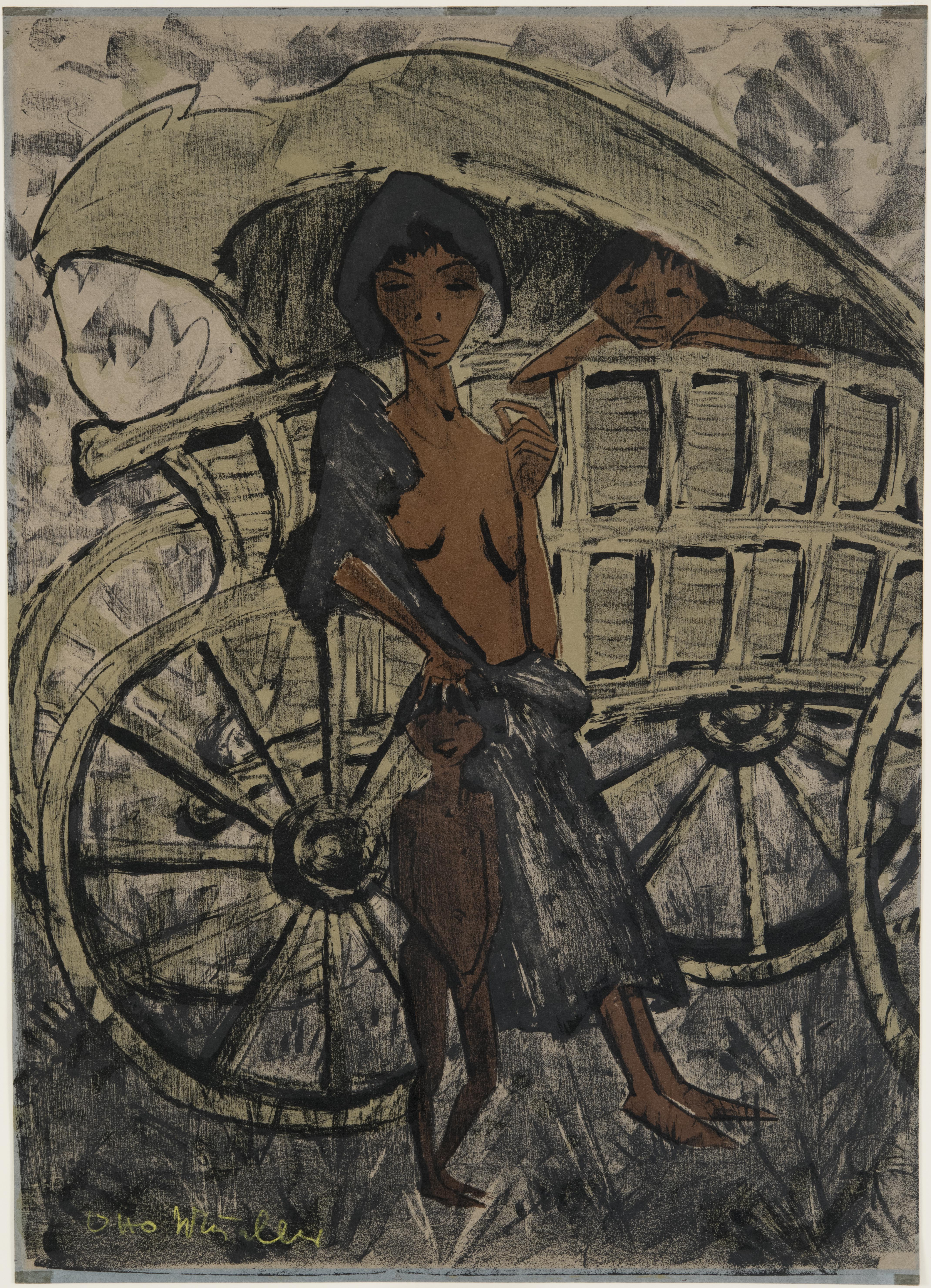 Otto Mueller, Gypsy Woman with Child in front of Covered Wagon, 1926 - 1927