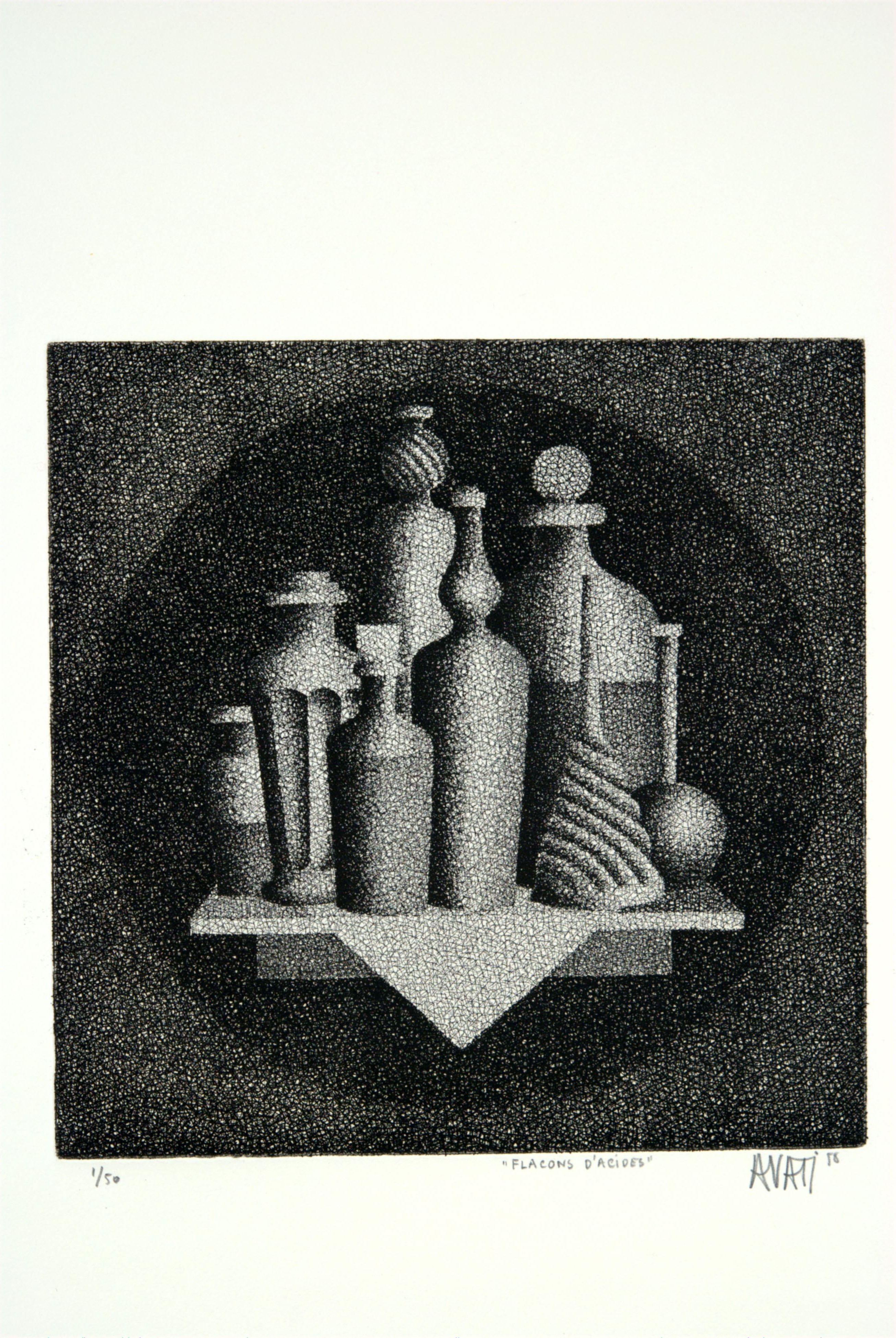 Mario Avati, Bottles of Acids, August 1958