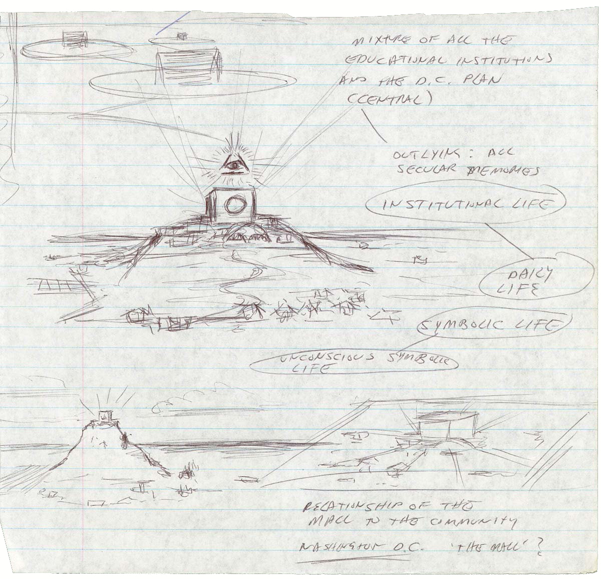 Notebook Drawings (Related to Educational Complex), by Mike Kelley, 1994