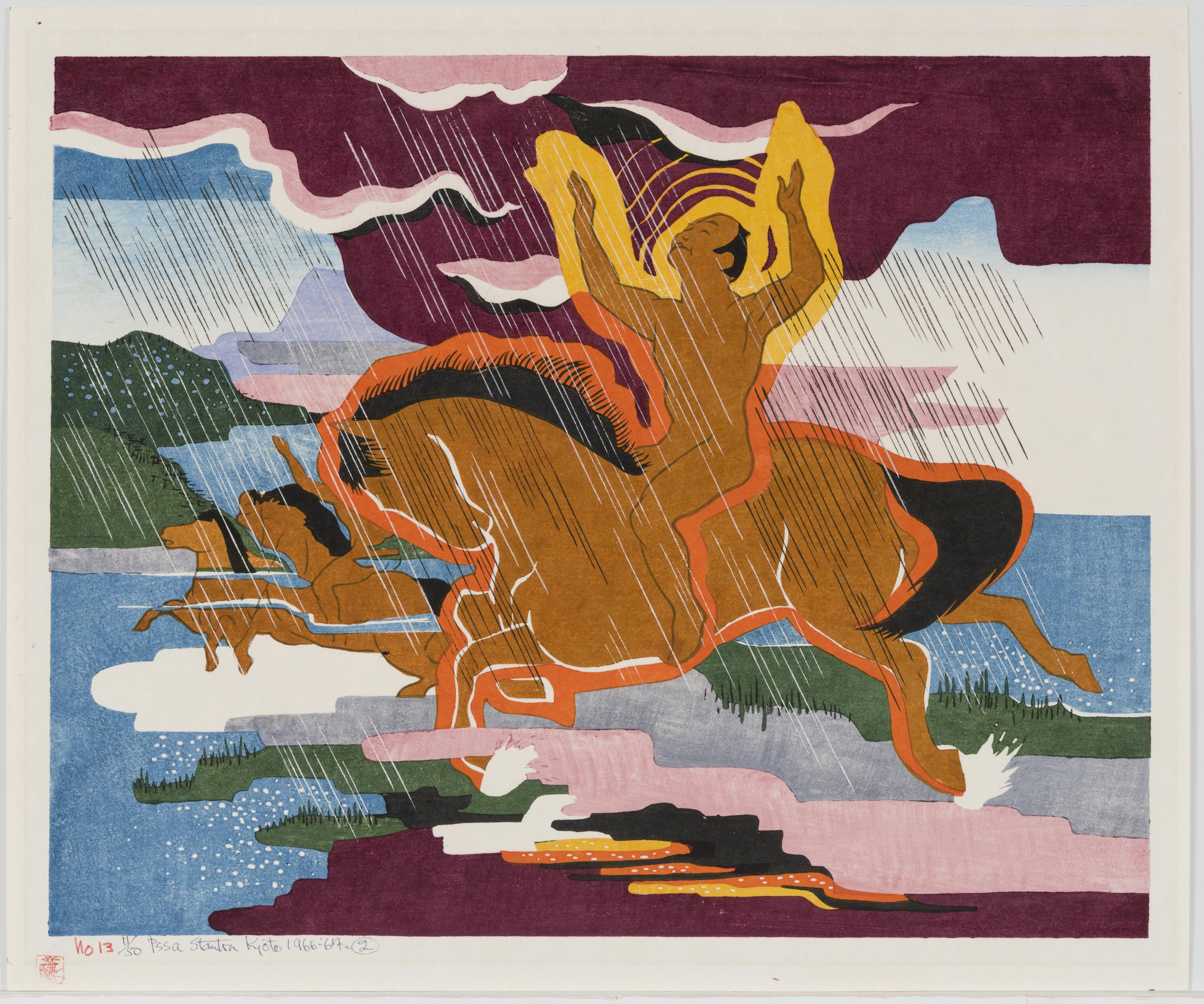 Stanton Macdonald-Wright, Naked in the rain riding a naked horse, 1966-1967