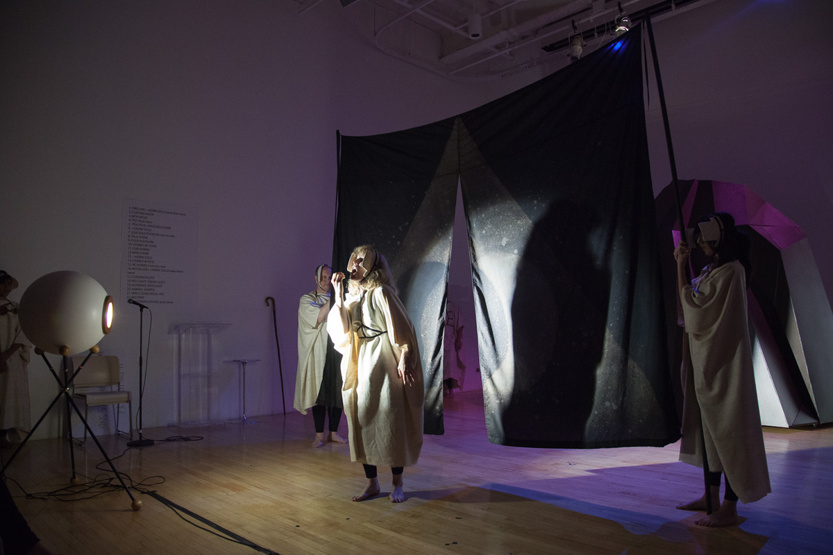 Jeanine Oleson, Hear, Here, experimental opera performed at New Museum, New York, June 13-14, 2014. Writer/Director: Jeanine Oleson; Composers: Rainy Orteca and Kelly Pratt (aurihorn solos); Performers: Beth Griffith, David Gould, Lisa Reynolds, Sister, Diwa Tamrong, Tony Torn and nyx zierhut; Musicians: Rainy Orteca, Kelly Pratt and John Michael Swartz; Costumes: Kim Charles Kay; Lighting Design: Derek Wright. Image courtesy of the artist.