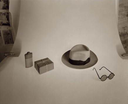 Still Life in the Observatory, (Perspective/Composition study after Le Corbusier, Villa Savoye at Poissy, toit-jardin looking south west, grey hat, sunglasses, and two indeterminate objects, 1931)