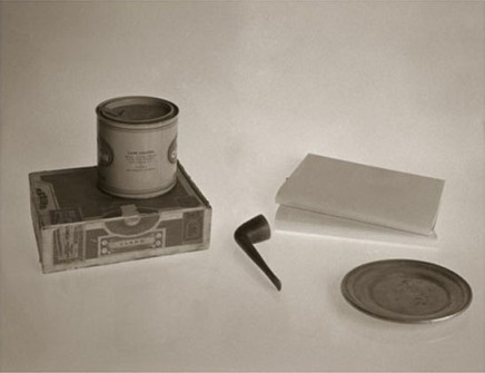 Still Life in the Observatory, (Perspective/Composition study after Le Corbusier, interior of a model dwelling unit, Salon des Artistes Decorateurs, L'Esprit Nouveau, a pipe, an ashtray, a cigar box, and a tobacco tin, 1929)