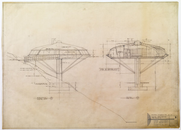 Construction drawing; section and elevation, Chemosphere (Malin)