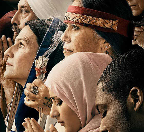 Photograph of people of various religions at prayer, modeled off of Norman Rockwell's painting Freedom of Religion
