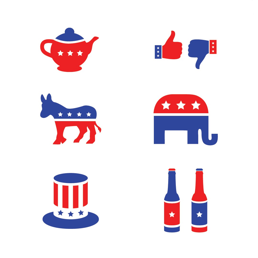 graphic showing blue and red icons of a teapot, thumbs up and thumbs down, a donkey, an elephant, top hat, and beer bottles.
