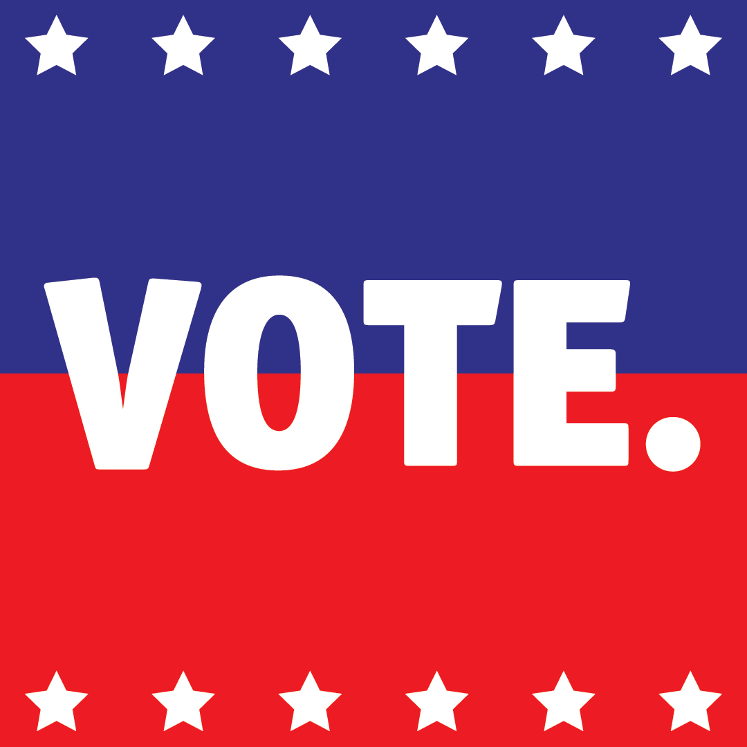 "Graphic with the word ""VOTE."" in white text on a red and blue background and white stars along the top and bottom borders."