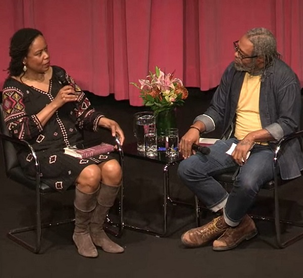 Saidiya Hartman and Arthur Jafa onstage at the Hammer
