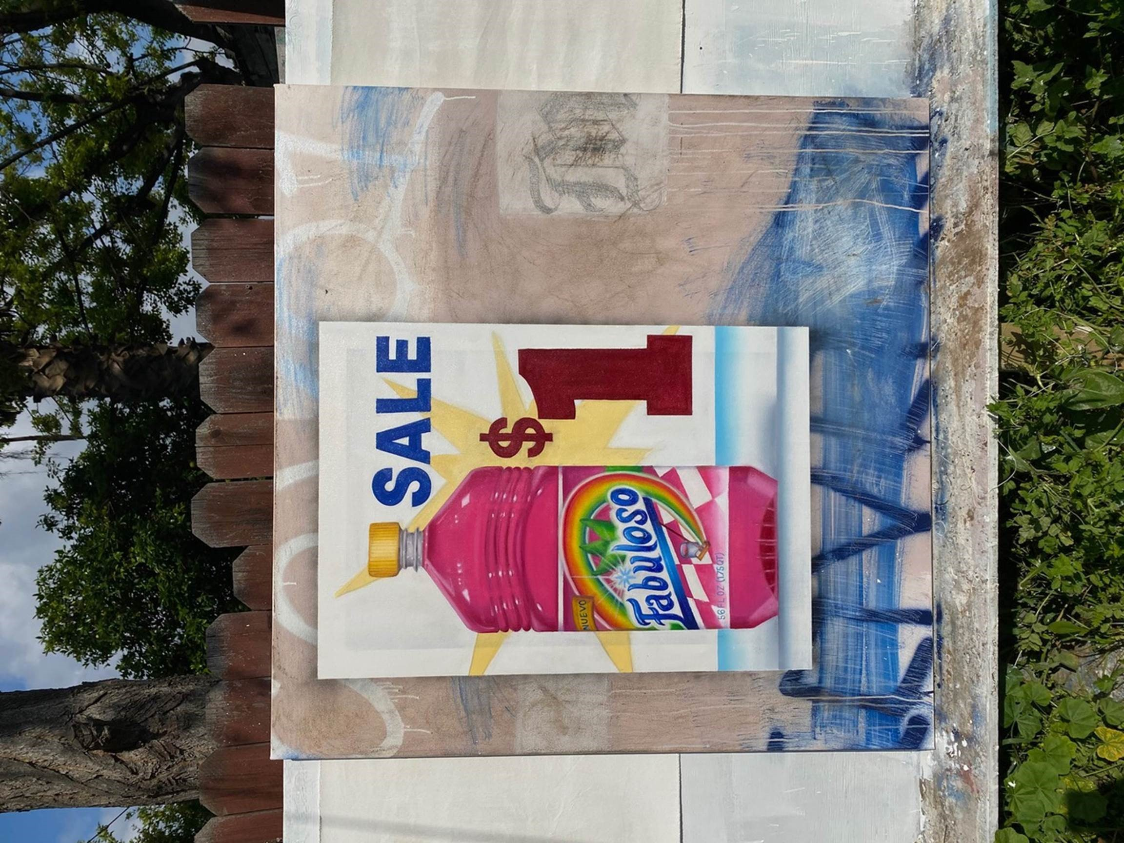 A painting of a bottle of pink cleaning agent