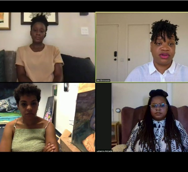 Four women on a Zoom call