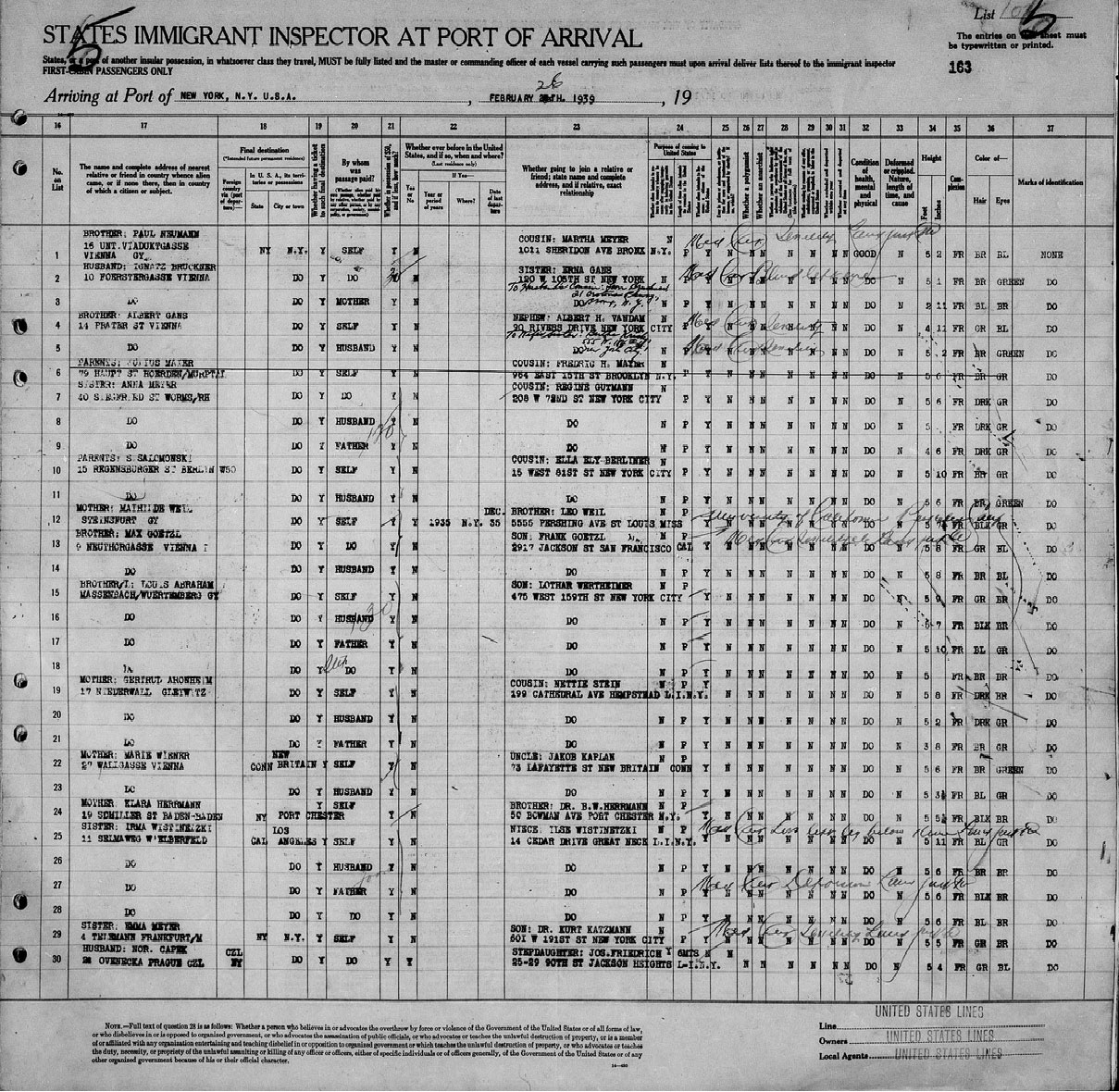 Ship Manifest, S.S. President Roosevelt, February 15, 1939. National Archives, Washington, DC/Ancestry.com