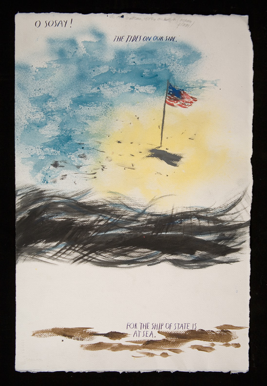 Raymond Pettibon, No Title (O sosay! The), 2005. Pen and ink drawing on paper. 22 1/2 x 14 3/4 in. (57.2 x 37.5 cm). Hammer Museum, Los Angeles. Purchase.