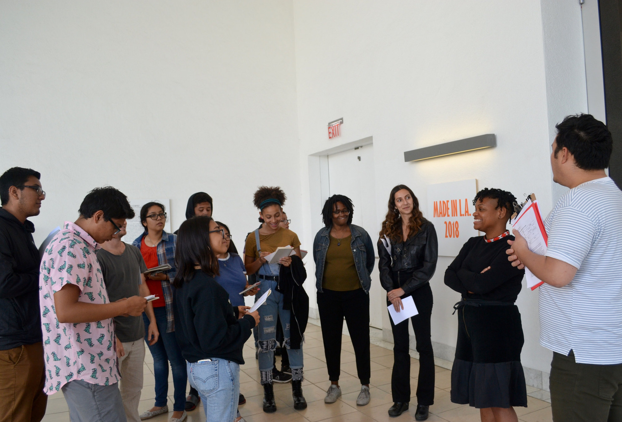 Students talking with Erin Christovale, Made in L.A. cocurator