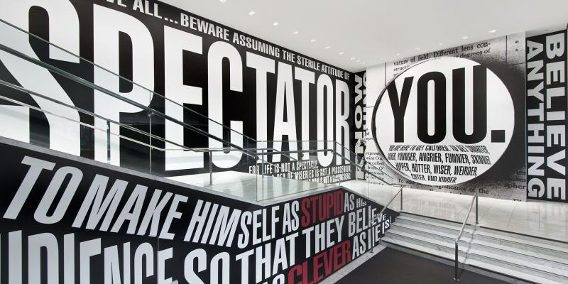 "Barbara Kruger, ""Untitled (Hello/Goodbye),"" 2014. Installation view at the Hammer Museum, Los Angeles"