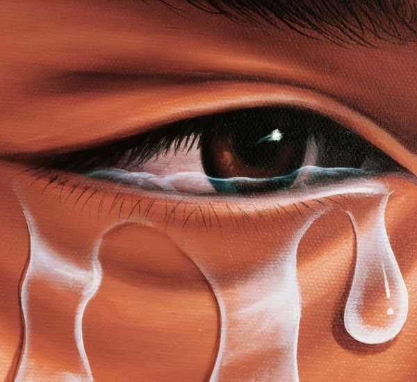painting showing a close up of a dark-skinned person's eye with tears flowing out.