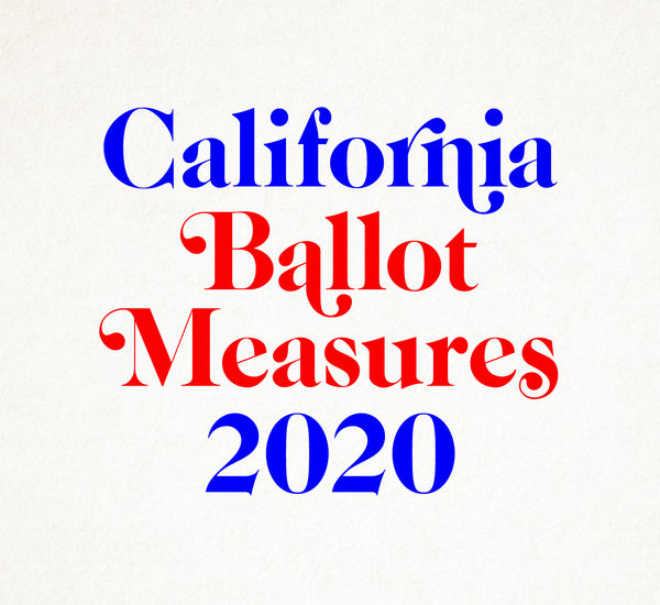 A thumb up and a thumb down on either side of text reading California Ballot Measures 2020