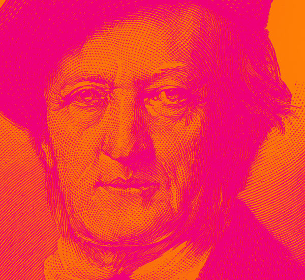 A bright stylized portrait of composer Richard Wagner