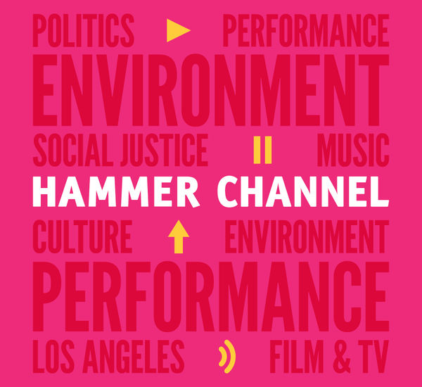 "Graphic with a pink background, with text in white across the middle ""HAMMER CHANNEL."" Dark pink text  spells out several words across the full image, words such as ""Environment, Performance, and Social Justice."" Yellow icons scattered across the image show a play button, pause symbol, arrow pointing up, and  an audio icon."