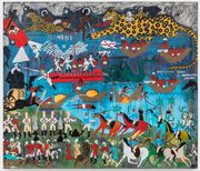 A brightly-colored landscape beside a body of water filled with different figures engaged in various forms of combat