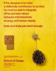 Taste and Style Just Aren't Enough (flyer for the School of Design, California Institute of the Arts), by Sheila de Bretteville, 1970