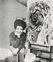 Photograph of Samella Lewis from announcement for Samella Lewis and George Clack exhibition at Brockman Gallery, Los Angeles, 1969