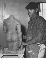 Melvin Edwards in his Los Angeles studio in the 1950s