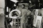 "John Outterbridge in his Los Angeles studio with ""No Time for Jivin',""1969, at right, 1970"