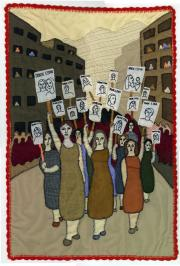 Fig. 2. Marcha de mujeres familiares de detenidos desaparecidos (March of female relatives of disappeared detainees)