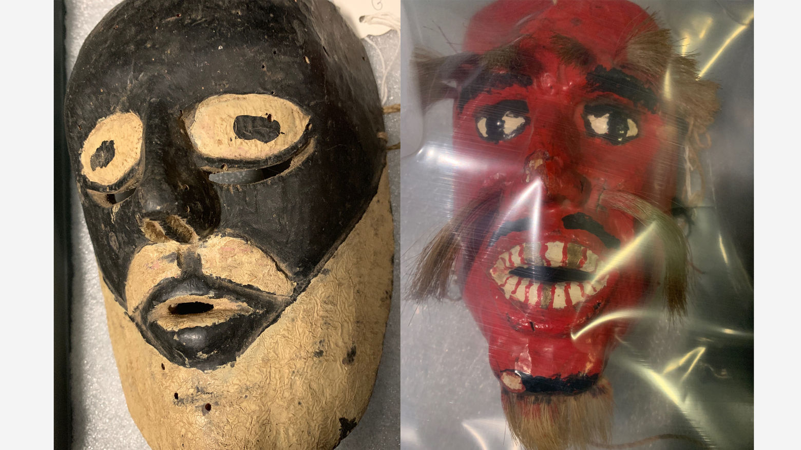 Images of two masks - on the left a wooden mask with black and white, and on the right a red mask with white teeth and hairy eyebrows, mustache and beard is seen underneath plastic