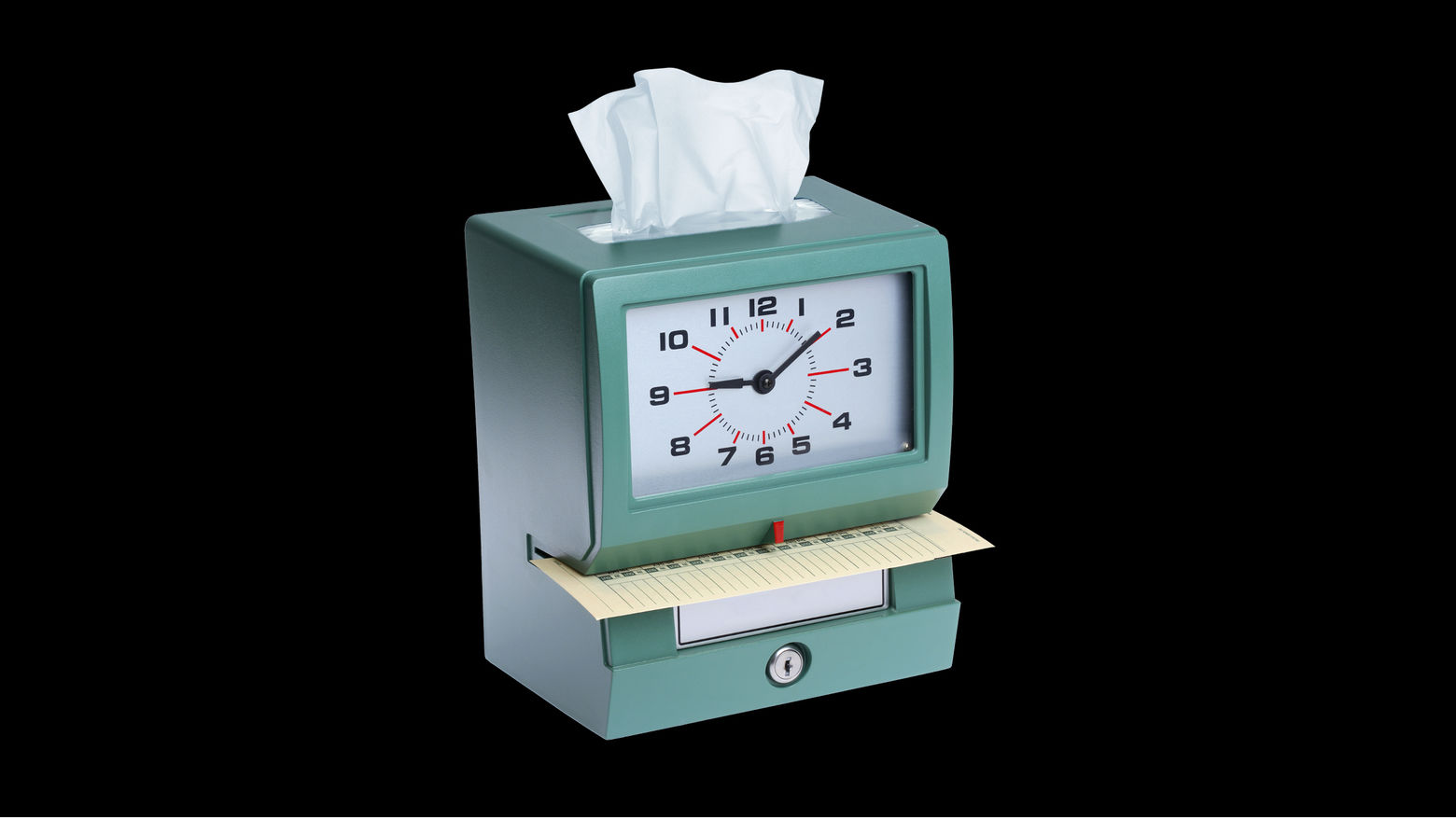 A punch-in clock with a tissue sticking out of the top