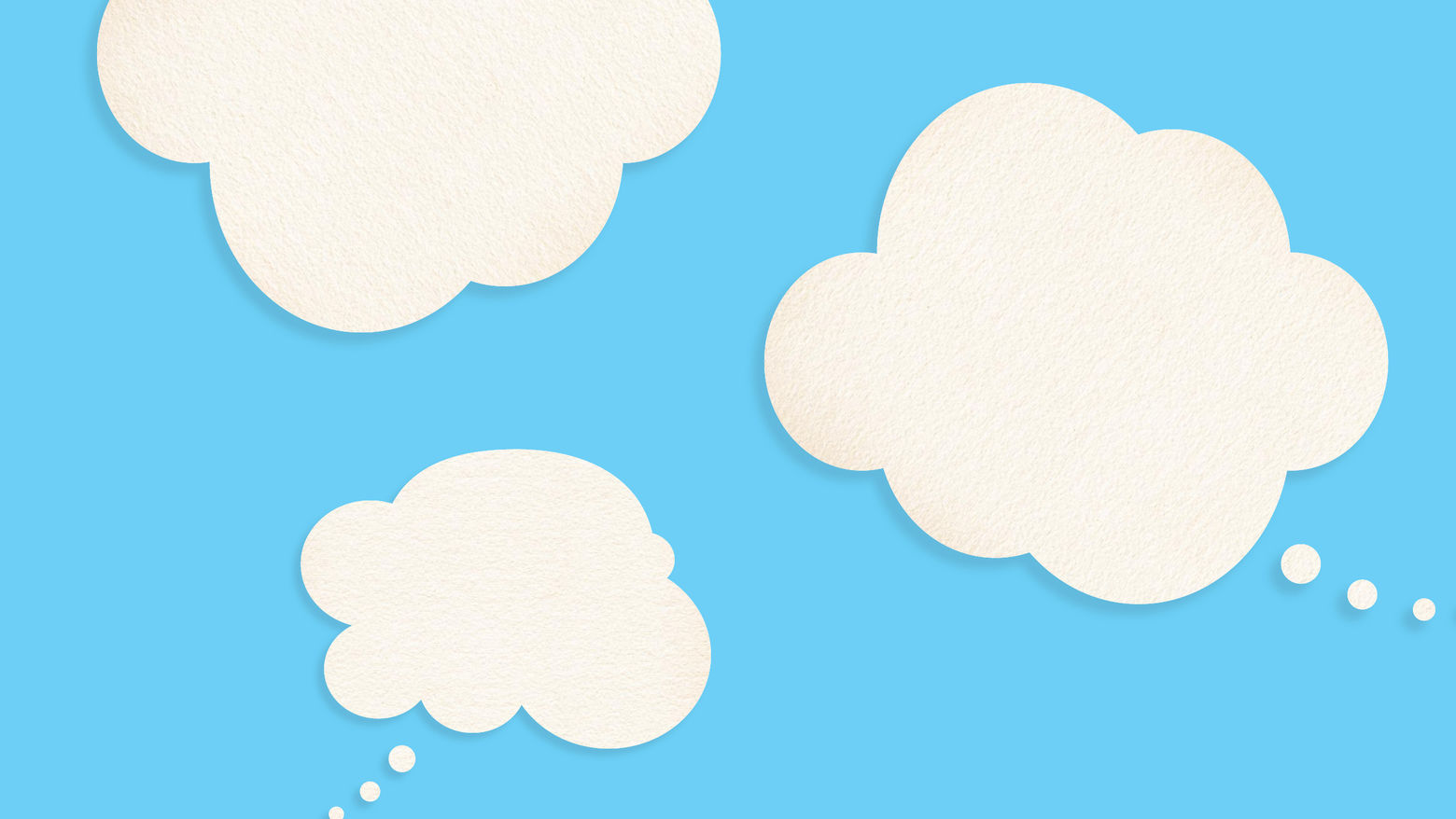 Three white thought bubble clouds on a sky blue background