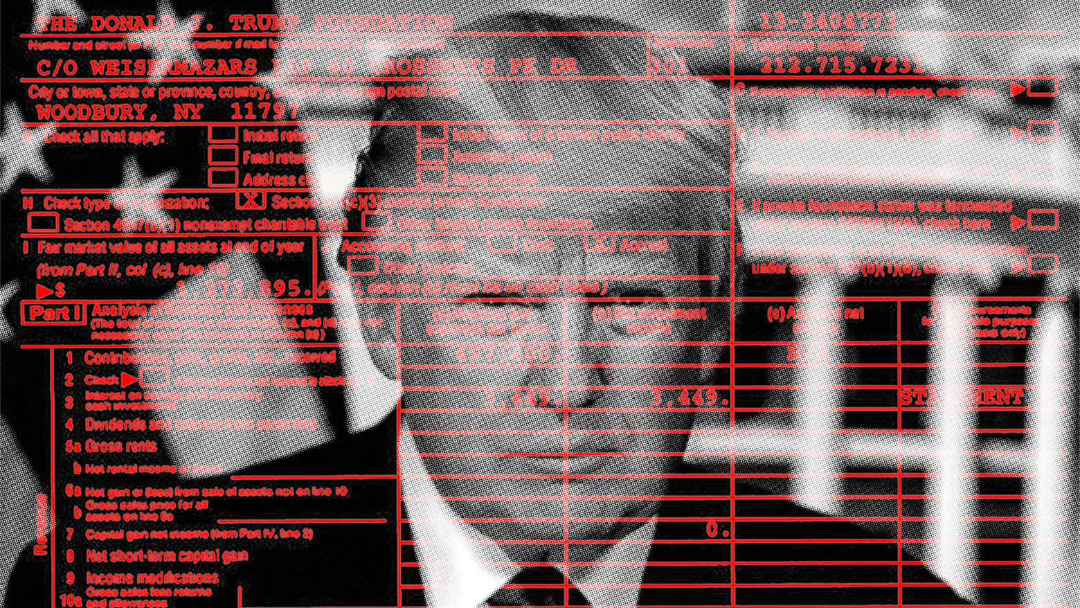 A graphic of President Trump behind a red screen of a tax return
