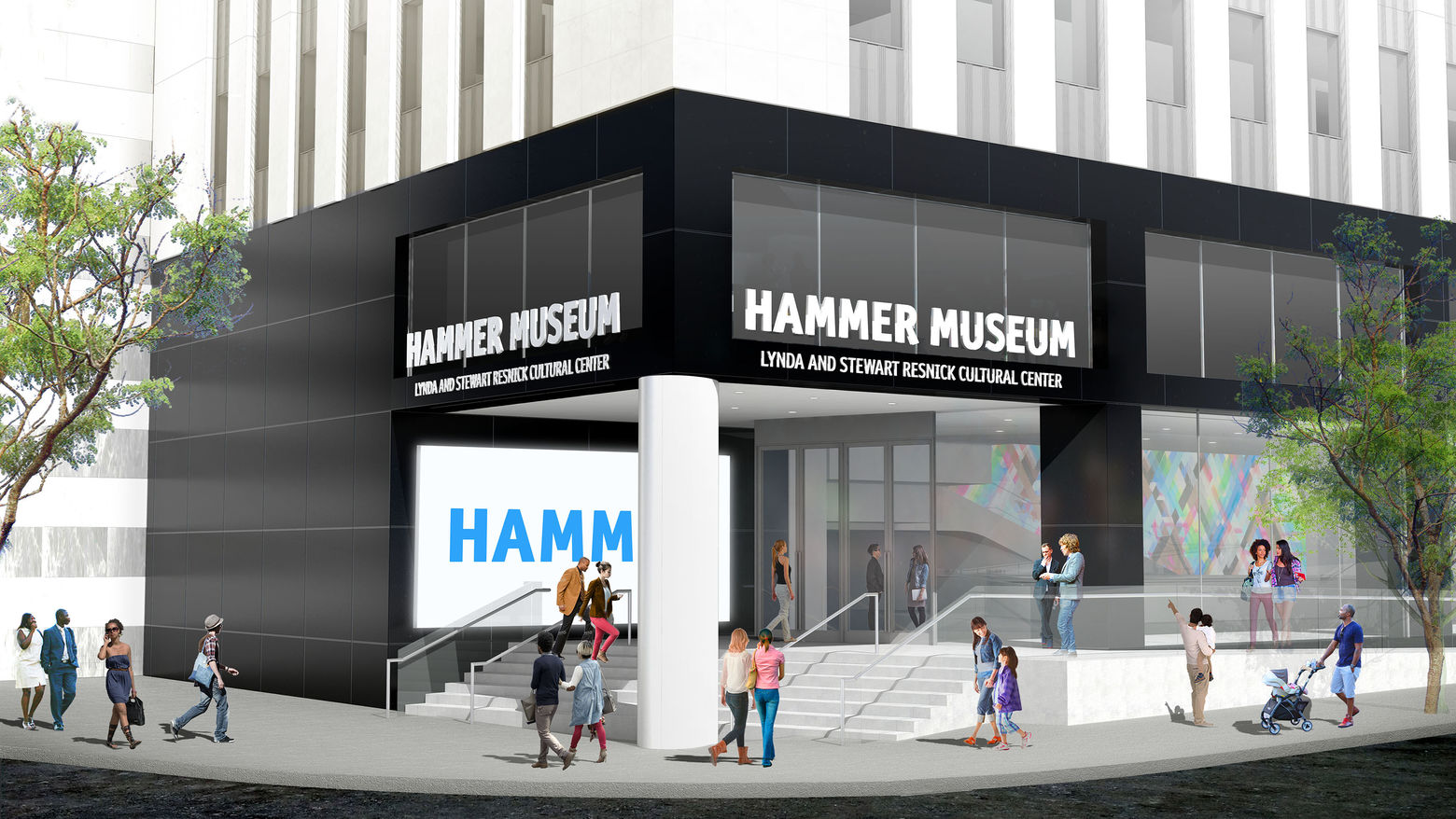 Rendering of the Hammer corner entrance  - the view from the street shows a black corner with stairs leading into the building.