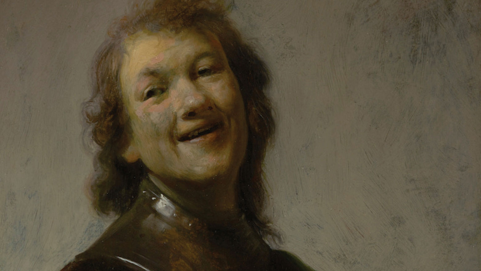 A painting showing a man laughing, depicting his head and shoulders