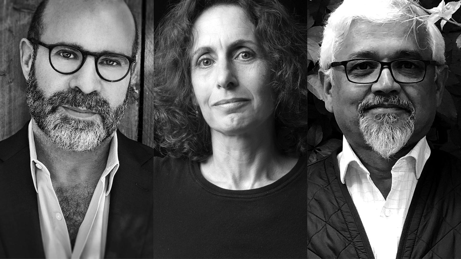 Three photographic portraits in black and white side by side. A man on the left with a beard and glasses, a woman in the middle with long brown hair, and a man on the right with a white beard and glasses.