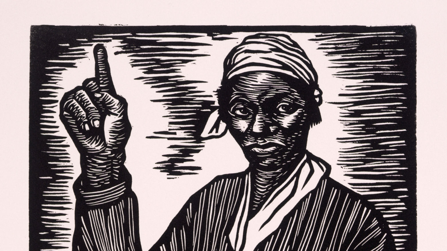 woodcut print showing a black woman standing in front of a book with her hand raised and index finger pointing to the sky