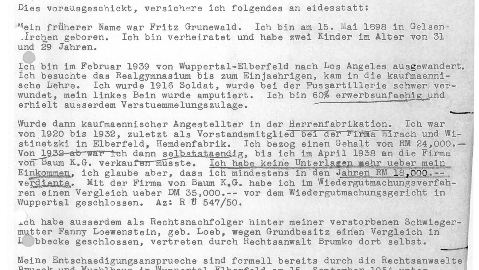 Affidavit signed by Fred Grunwald in connection with his compensation claims, November 14, 1955. Bezirksregierung Düsseldorf, Dezernat 15