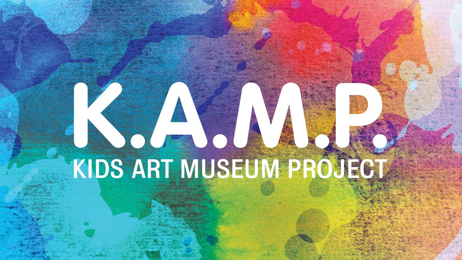 K.A.M.P graphic and logo with colorful splotches of paint.