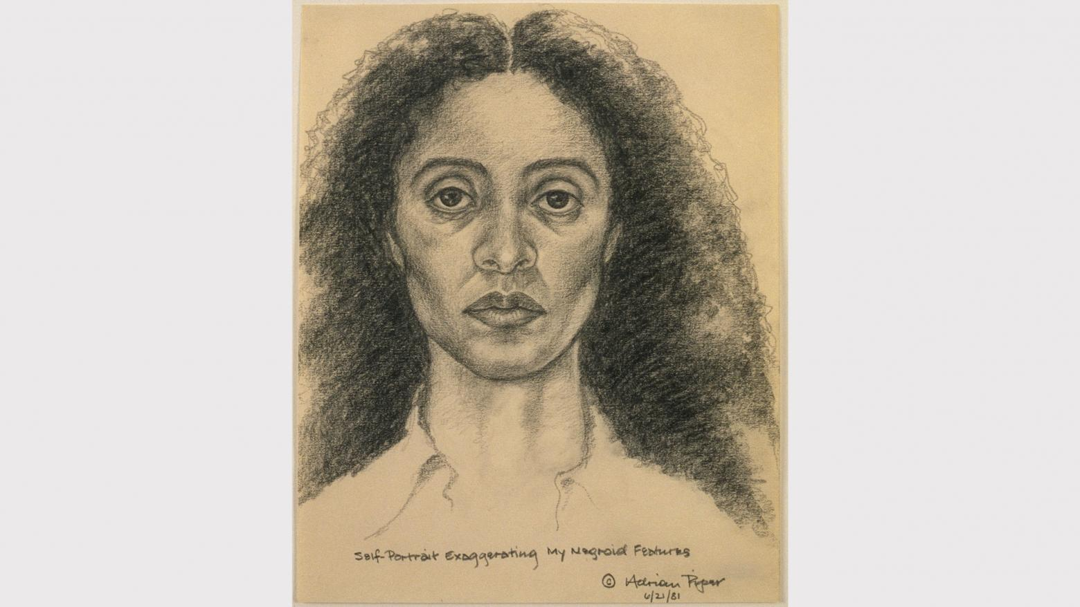 Adrian Piper, Self-Portrait Exaggerating My Negroid Features, 1981. Pencil on paper. 10 × 8 in. (25.4 × 20.3 cm). The Eileen Harris Norton Collection. © Adrian Piper Research Archive Foundation Berlin.