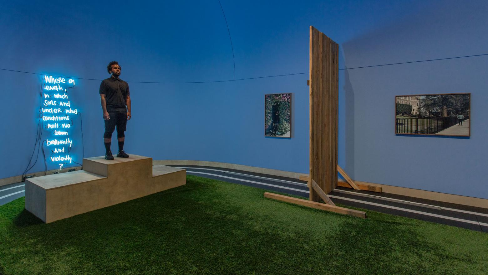 EJ Hill, Excellentia, Mollitia, Victoria, 2018. Installation view, Made in L.A. 2018, June 3-September 2, 2018, Hammer Museum, Los Angeles. Photo: Brian Forrest.