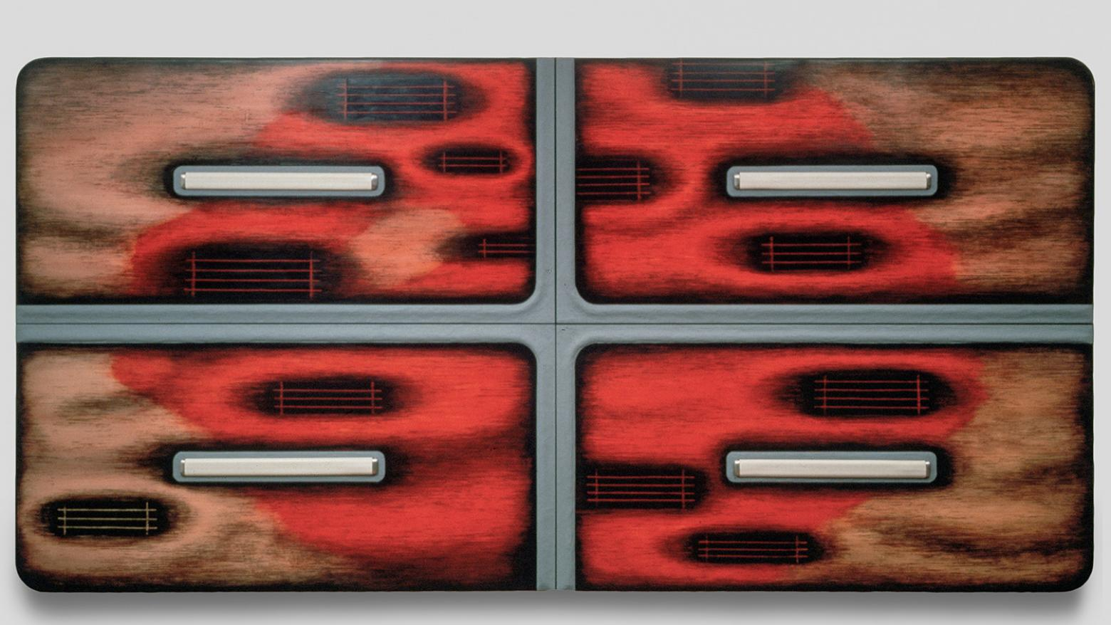 Tishan Hsu, Cell, 1987. Acrylic, compound, oil, alkyd, vinyl, aluminum on wood. 96 x 192 x 4 inches (244 x 488 x 10 cm). Collection of Ralph Wernicke / Hubertushoehe art + architecture, Berlin and Zürich.