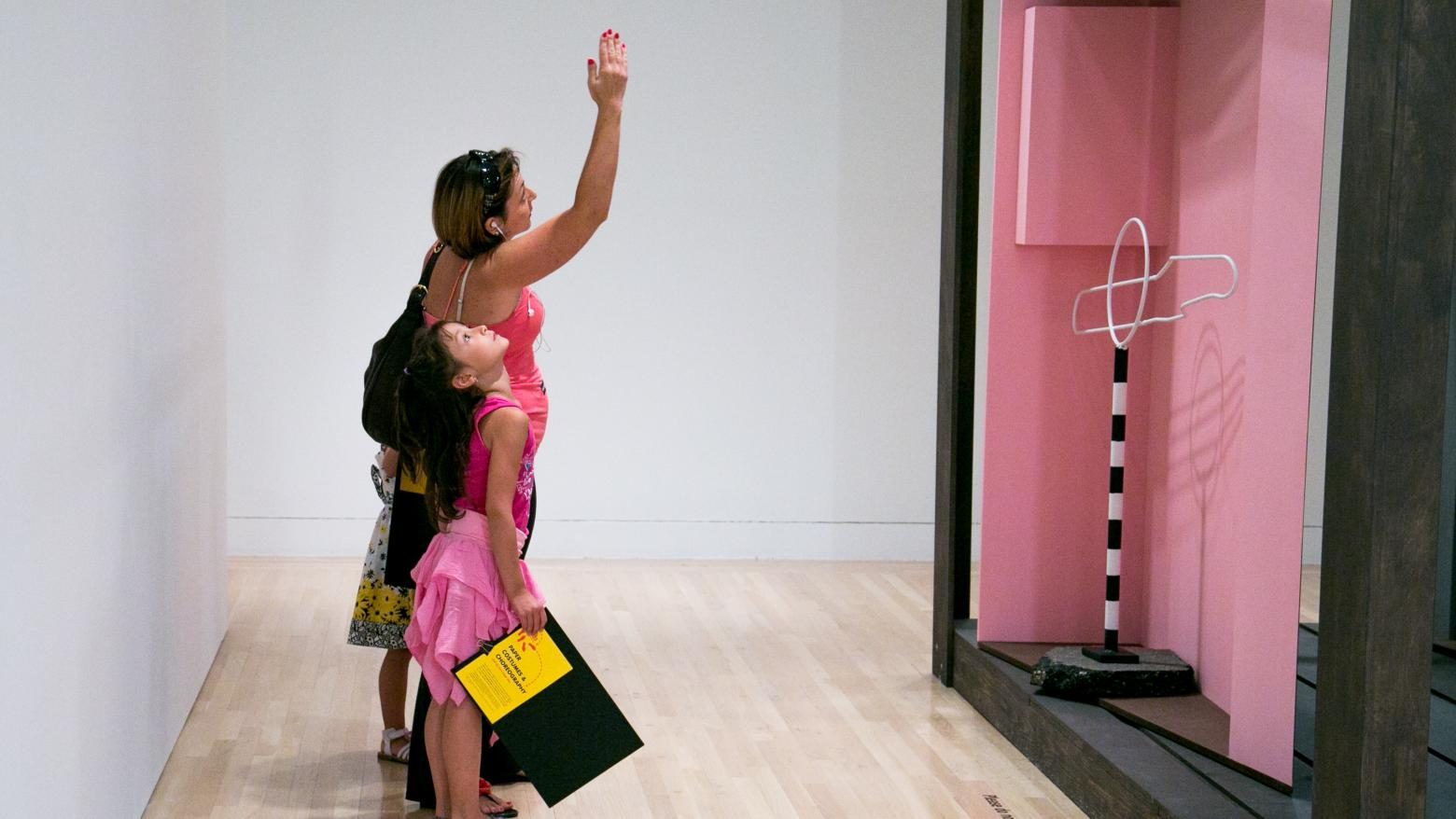 Kid looking at art in the Hammer Museum