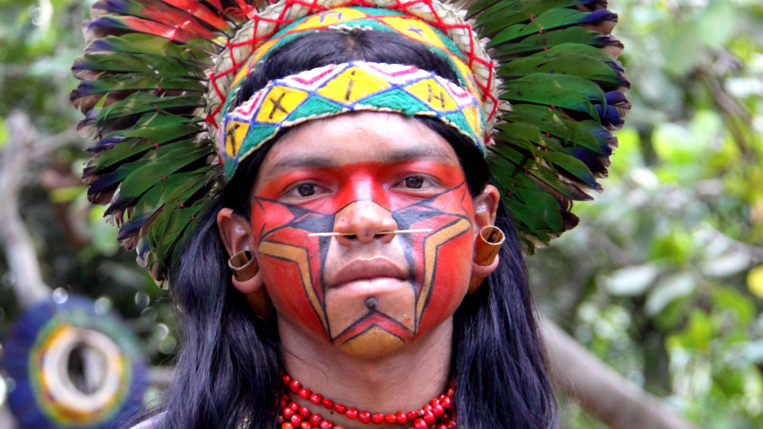 Member of the Pataxó tribe from South America, Bahia province, Brasil